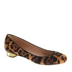 J. Crew Leopard Flats with Gold Heel